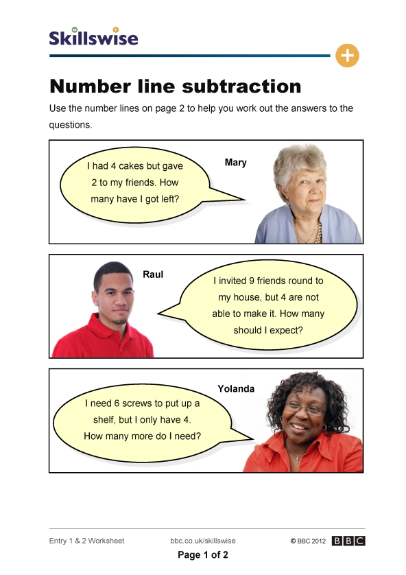 math worksheet : number line subtraction : Subtracting On A Number Line Worksheets