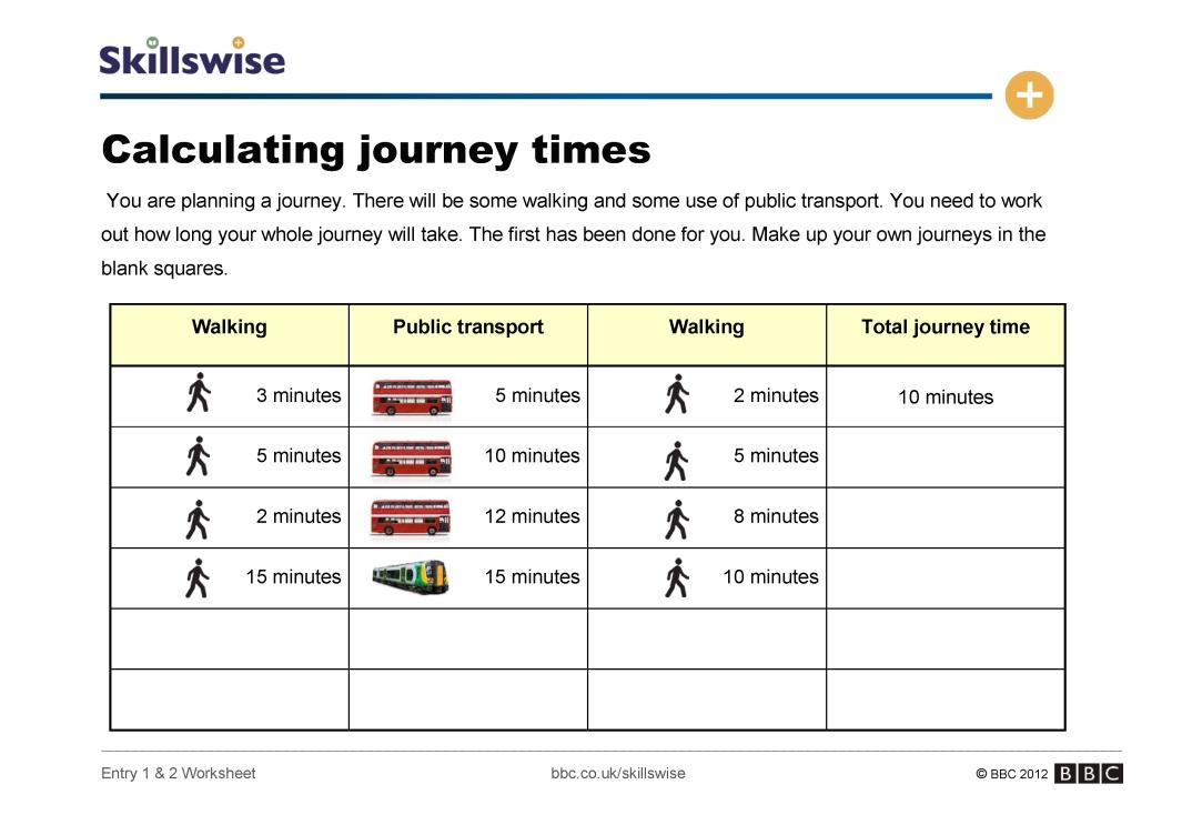Multiplication 1 12 multiplication worksheets : Calculating journey times