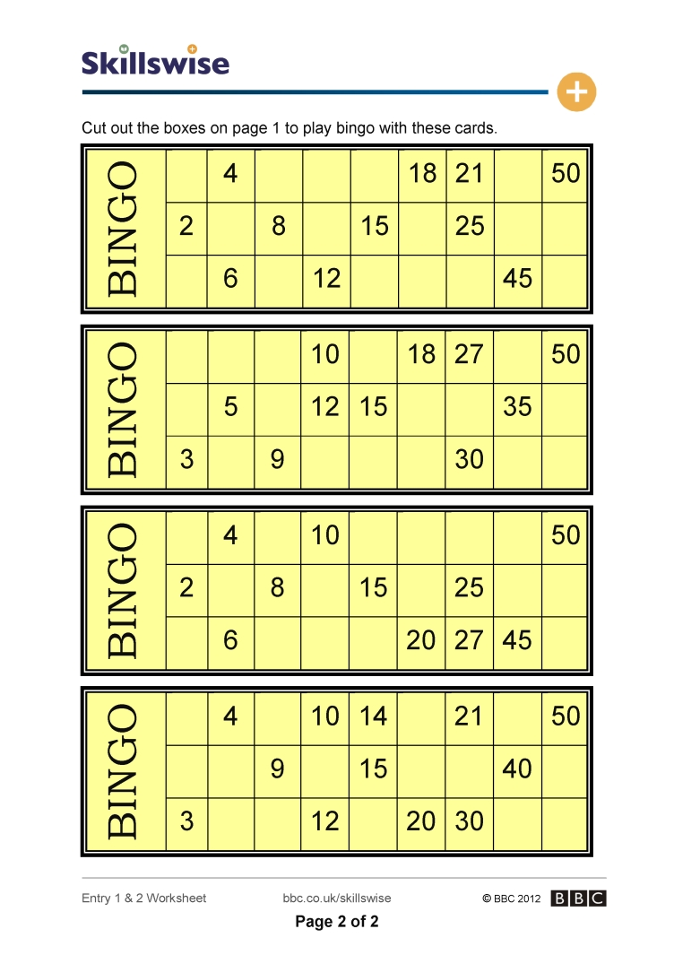 Times table bingo for 13 table