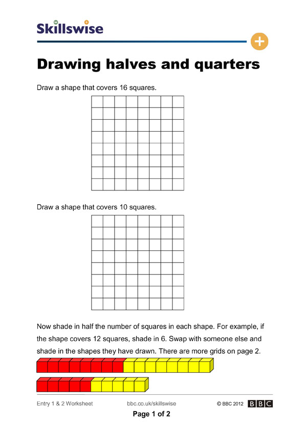 Halves And Quarters Of Numbers Worksheets