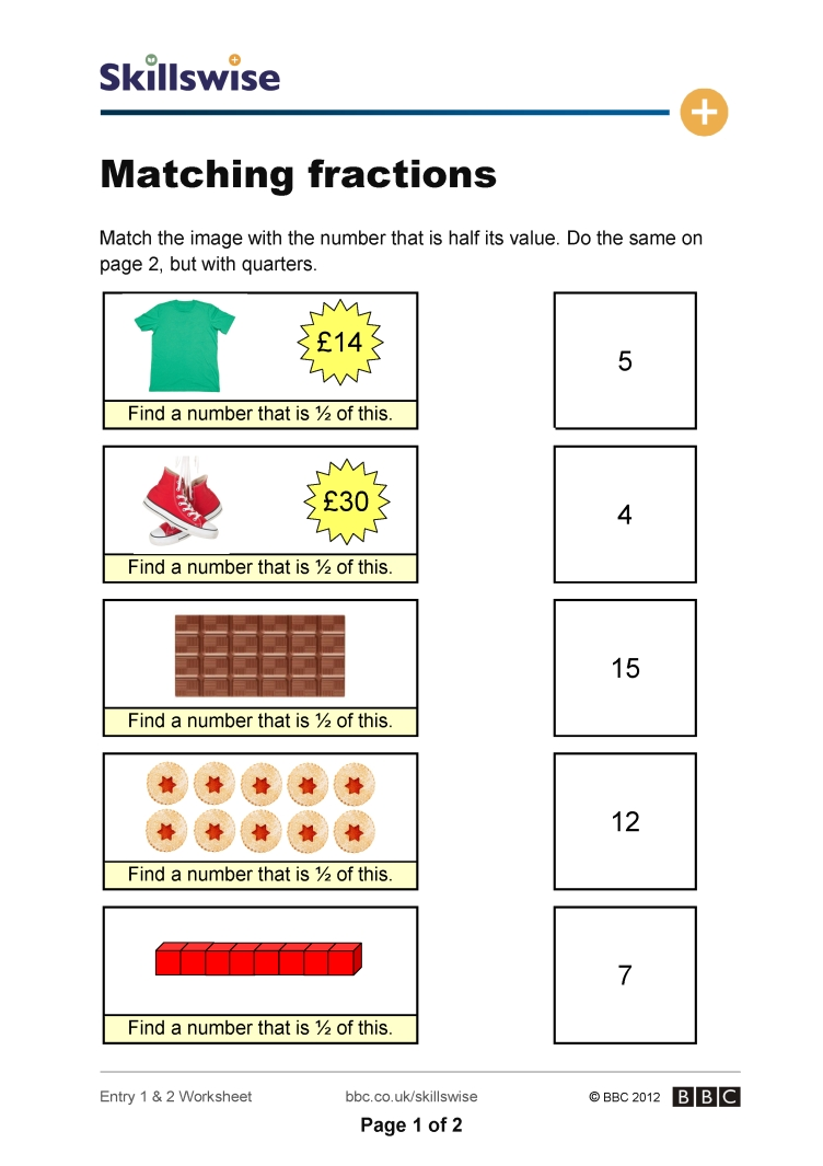 Matching fractions – Matching Fractions Worksheet
