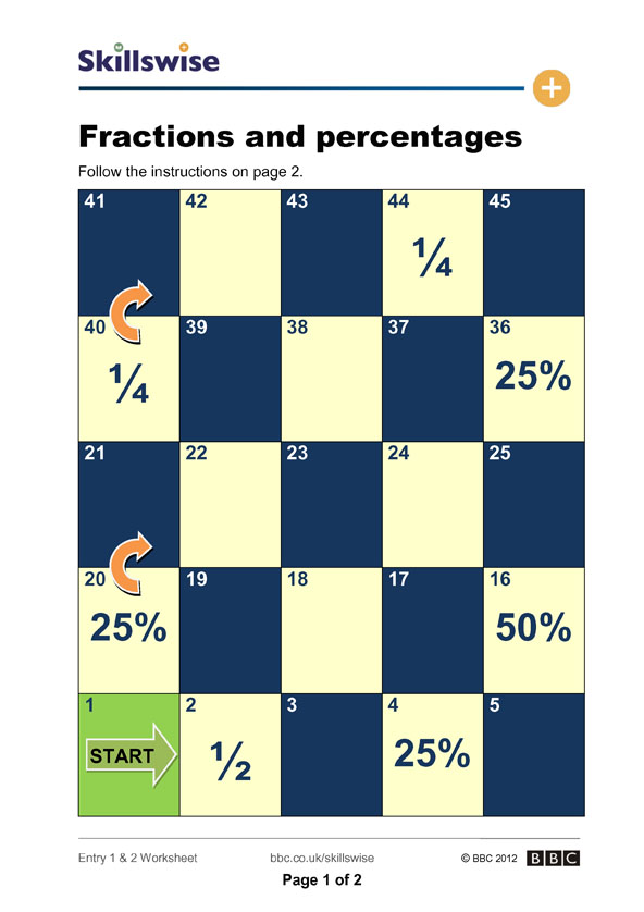 Fractions and percentages – Fractions to Percent Worksheet