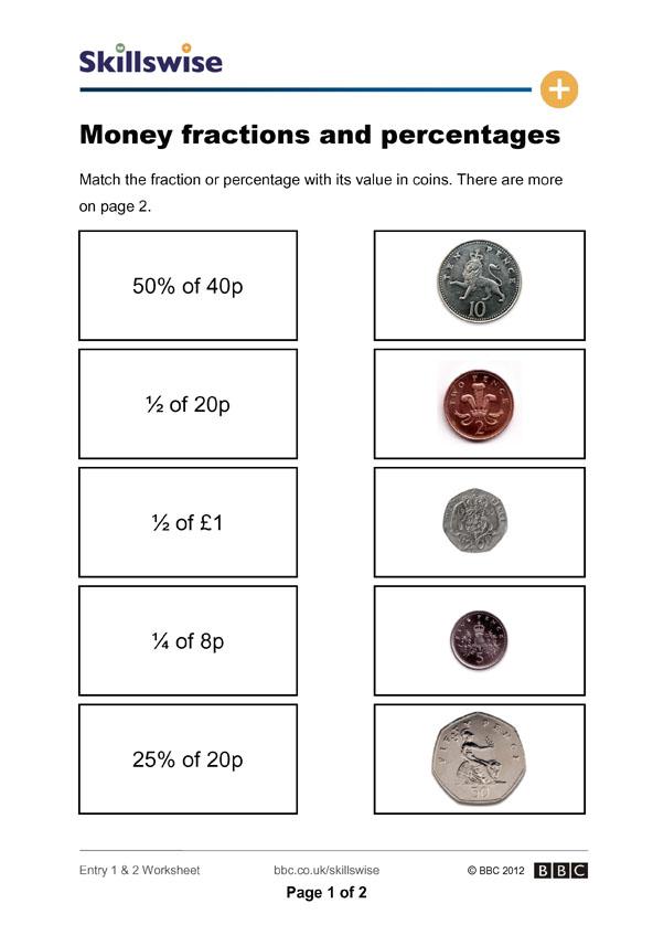 Money fractions and percentages – Fraction Concepts Worksheets