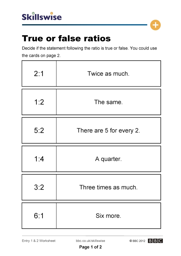 True or false ratios – Ratio and Fraction Worksheets