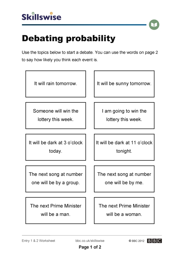 math worksheet : debating probability : Maths Probability Worksheets
