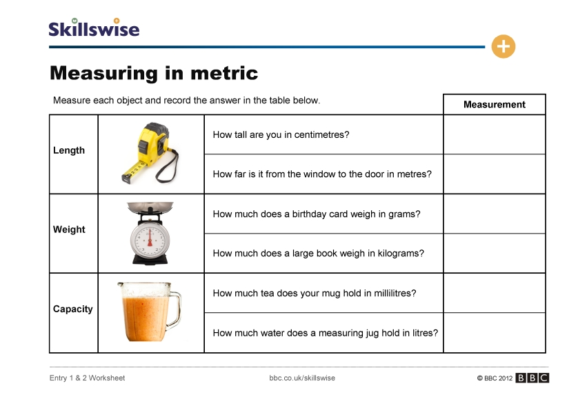 Printables Metric Measurement Worksheet measuring in metric