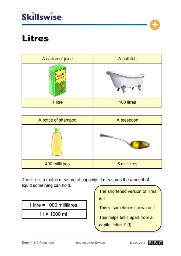 Free Worksheets worksheets on conversion of measurements : Litres