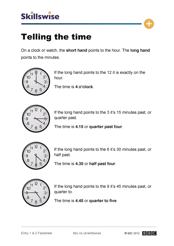 Worksheets For Telling The Time | New Calendar Template Site
