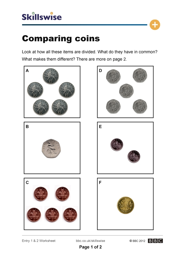 ma26monee1e2wcomparingcoins592x838jpg – Comparing Money Worksheets