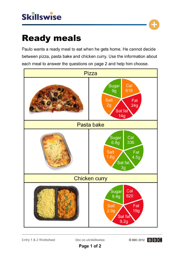 Worksheets Calorie Worksheet ready meals calories worksheet preview