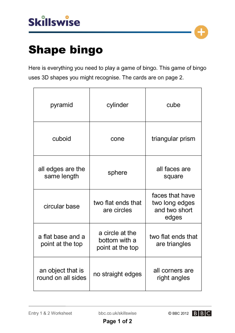 worksheet Bingo Worksheet shape bingo 3 d shapes worksheet preview