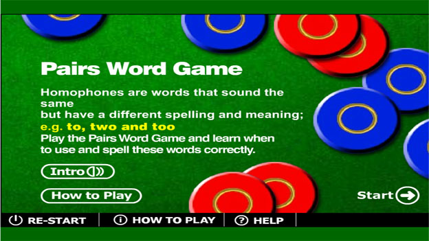 Click to play 'Homophones game'