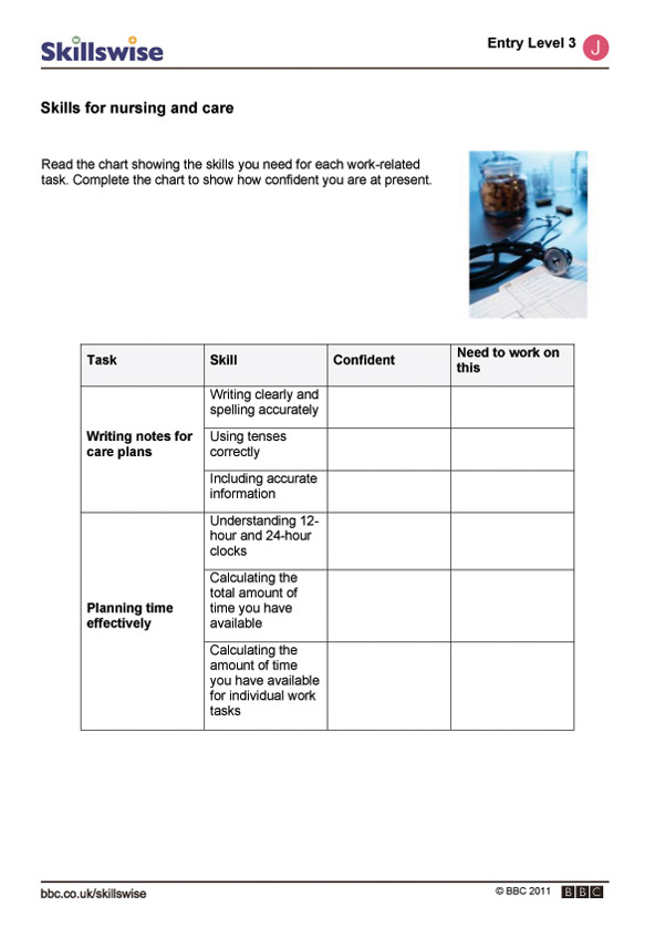 nursing and care worksheet preview