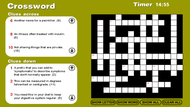 Click to play 'Nursing and care crossword game'