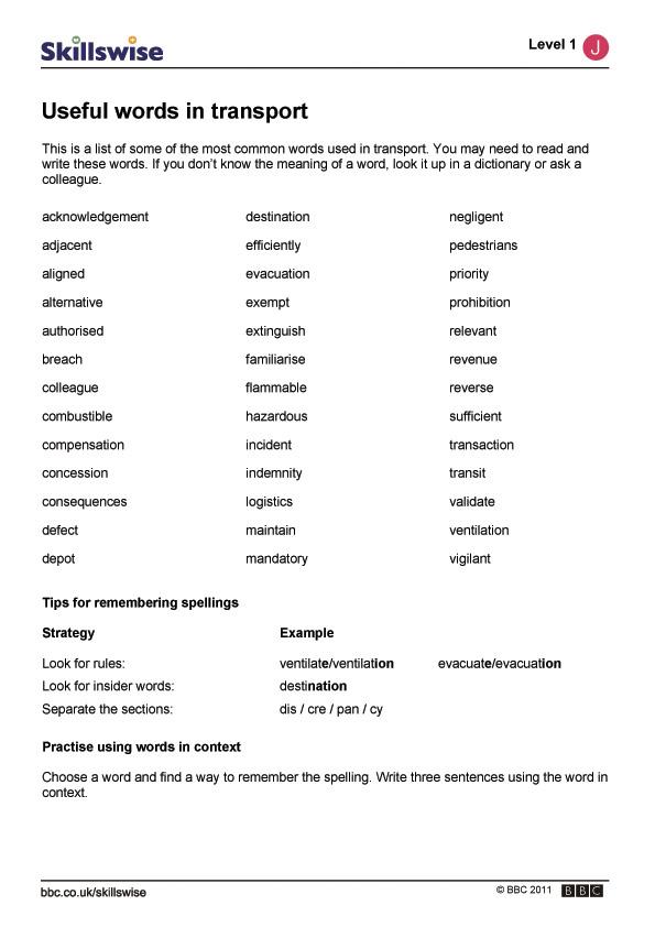 Useful words in transp...