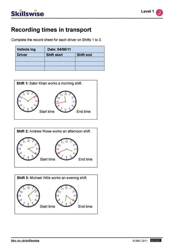 recording times in transport