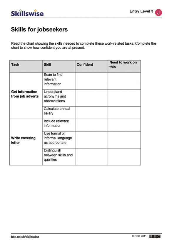 joseek e w skills for x jpg job seekers worksheet preview