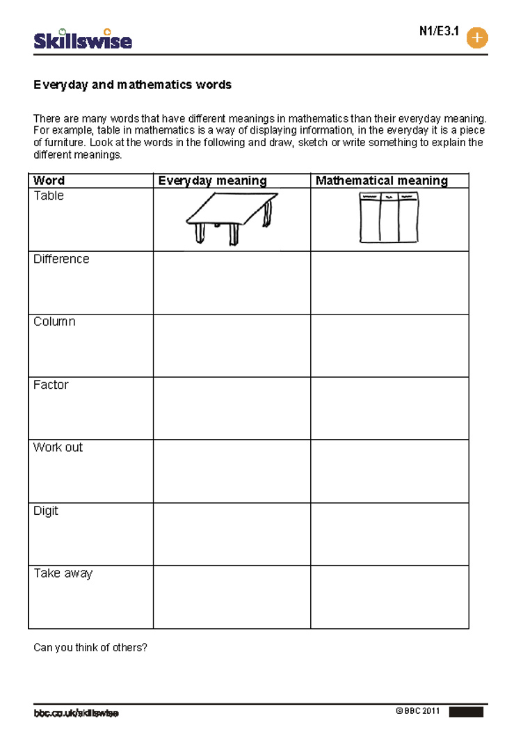 Everyday and mathematics words – Bbc Maths Worksheets