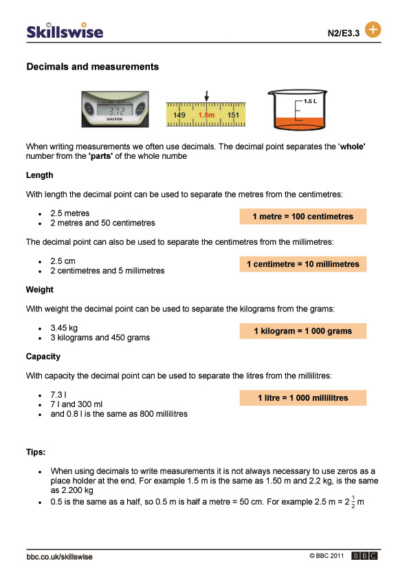 Decimals And Measurements