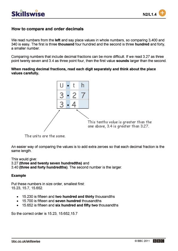 to compare and order decimals – Ordering and Comparing Decimals Worksheets