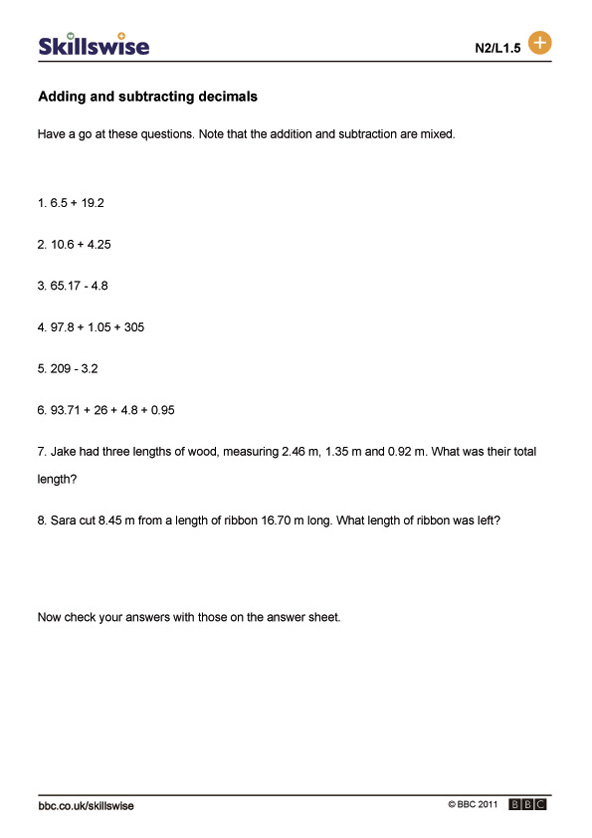 math worksheet : adding and subtracting decimals : Subtraction With Decimals Worksheet
