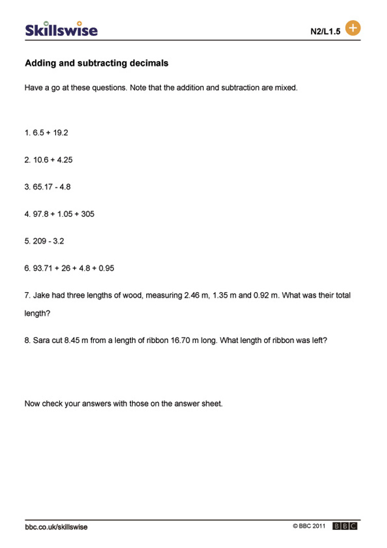 Worksheet On Adding And Subtracting Decimals worksheets on fractions ...
