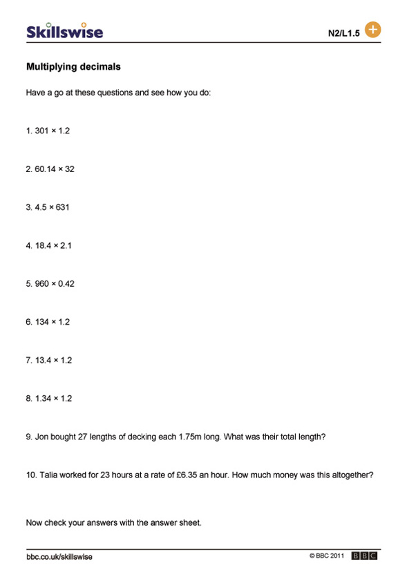 Multiplying decimals – Multiply with Decimals Worksheet