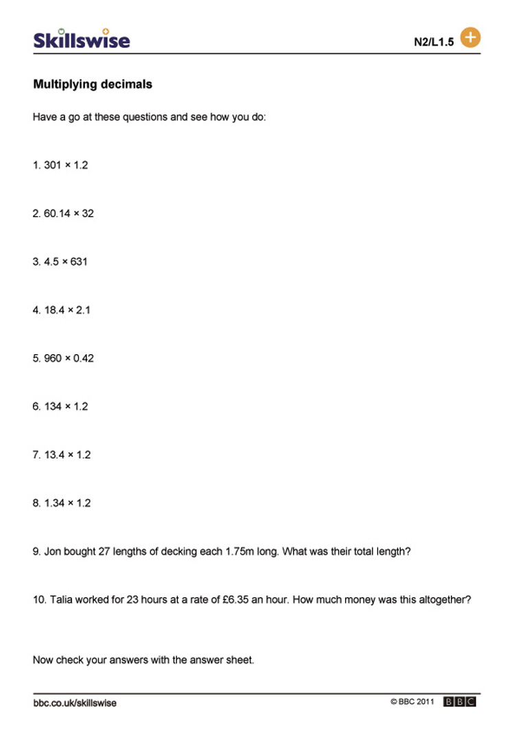 Multiplying decimals – Decimal Multiplication Worksheets