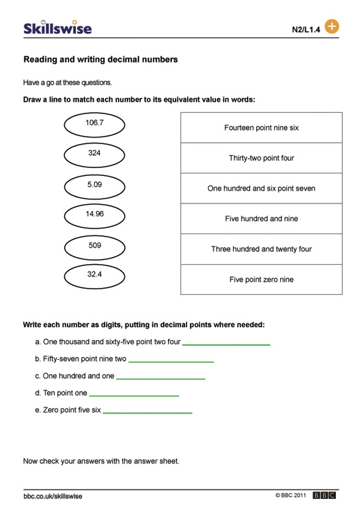 Reading and writing decimal numbers – Reading and Writing Decimals Worksheet