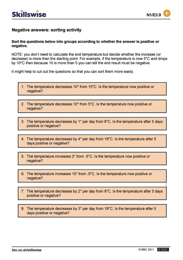 Negative numbers worksheet preview
