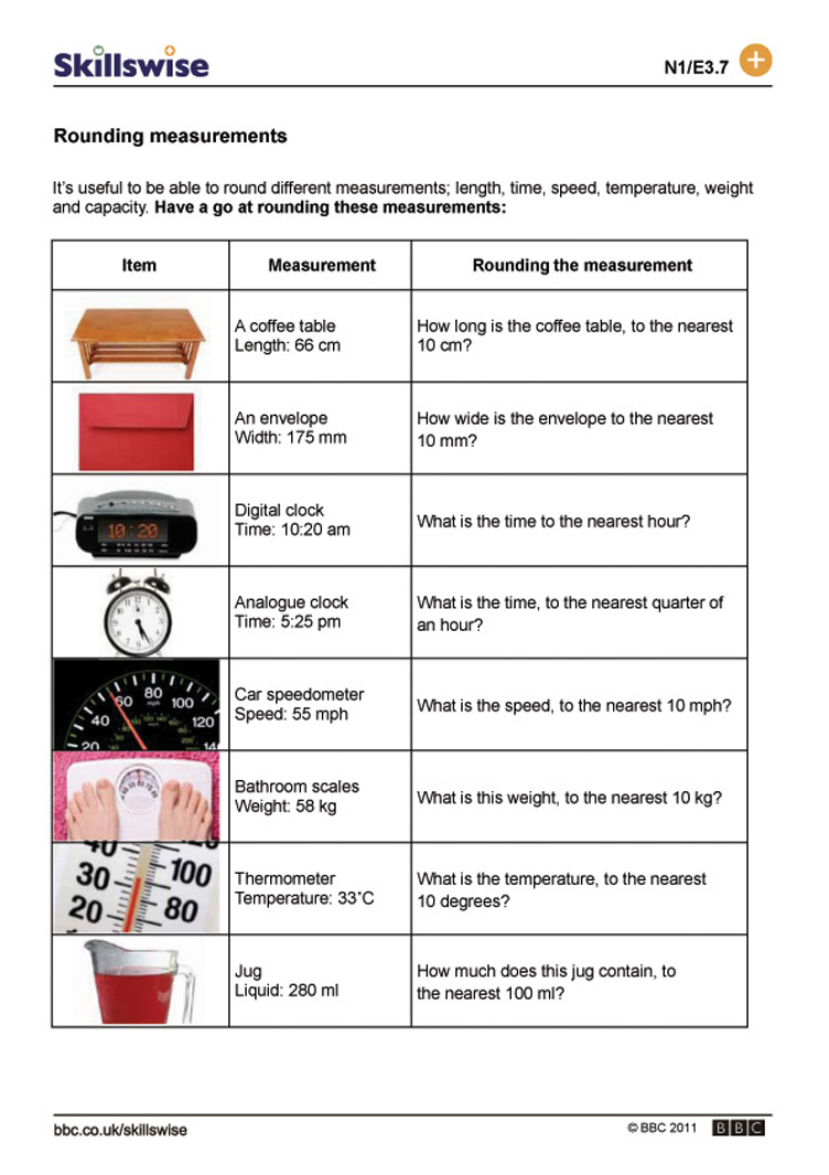 Printables Measurements Worksheets rounding measurements