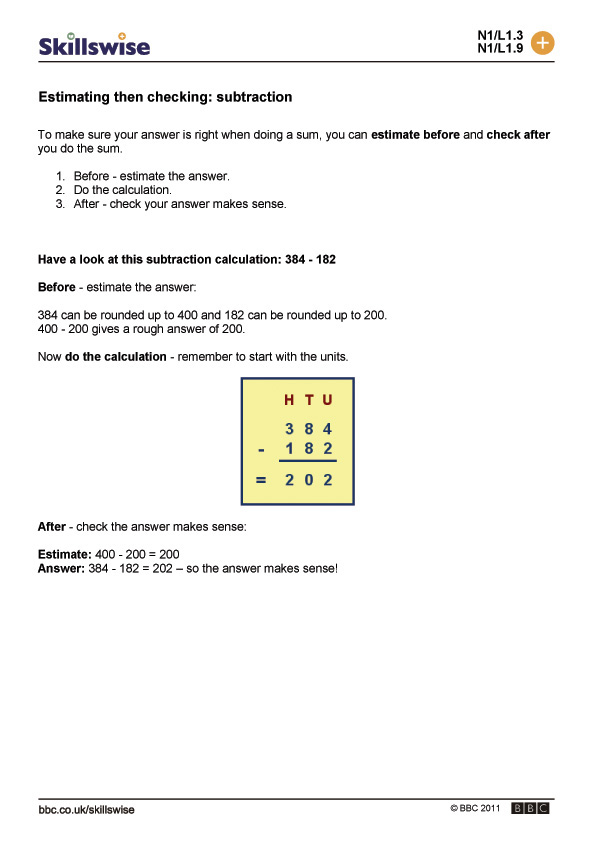 Estimating then checking: subtraction