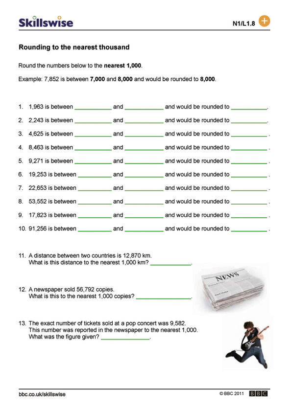 ma06rounl1wroundingnumberstothenearestthousand592x838jpg – Rounding on a Number Line Worksheet