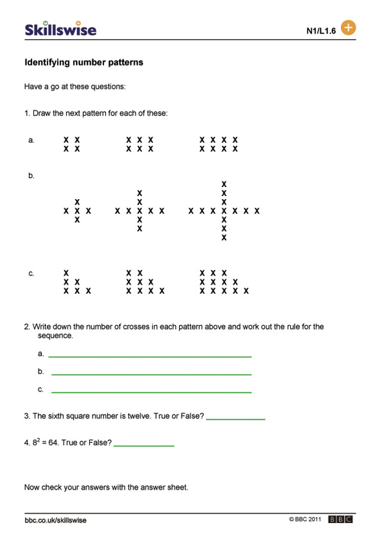 worksheet Number Patterns bbc skillswise identifying number patterns formulas patterns