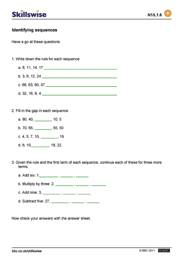 {BBC Skillswise Identifying sequences – Bbc Maths Worksheets