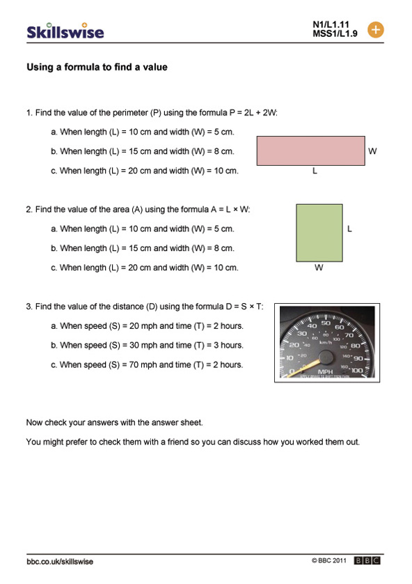 BBC Skillswise Using a formula to find a value – Formula Worksheet