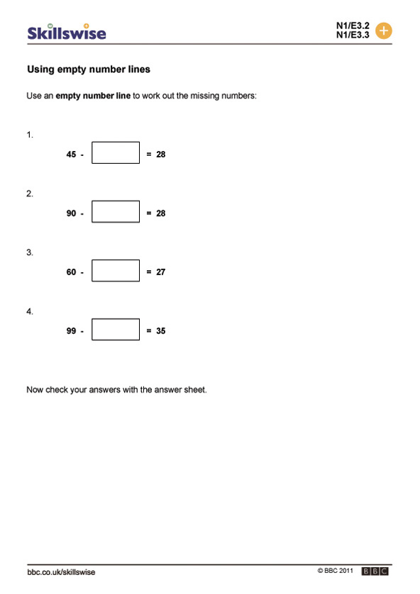 using empty number lines subtraction worksheet preview
