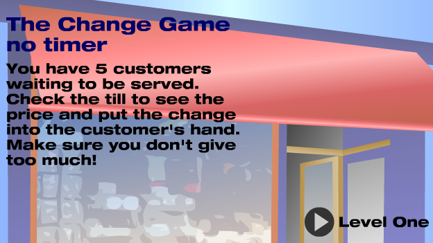 Click to play 'Giving change game - no timer'
