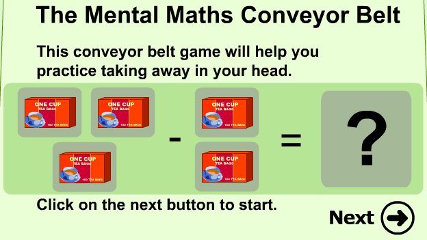 Click to play 'Conveyor belt subtraction game'