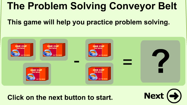 Click to play 'Problem solving with subtraction game'