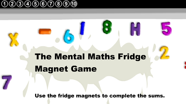 Click to play 'Fridge magnet multiplication game'