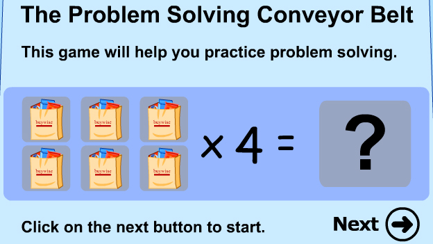 Click to play 'Problem solving with multiplication game'