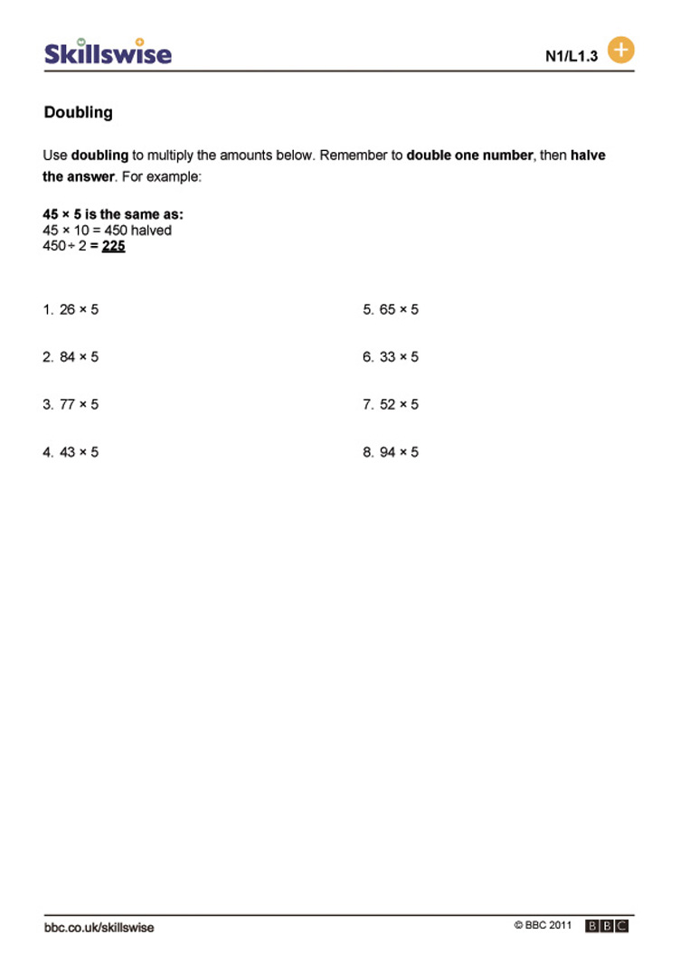 math worksheet : doubling : Multiplication Doubles Worksheet