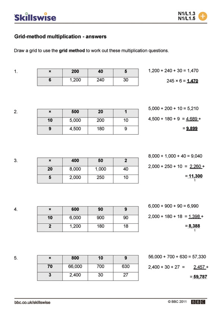 Gridmethod multiplication – Multiplication Grid Method Worksheets