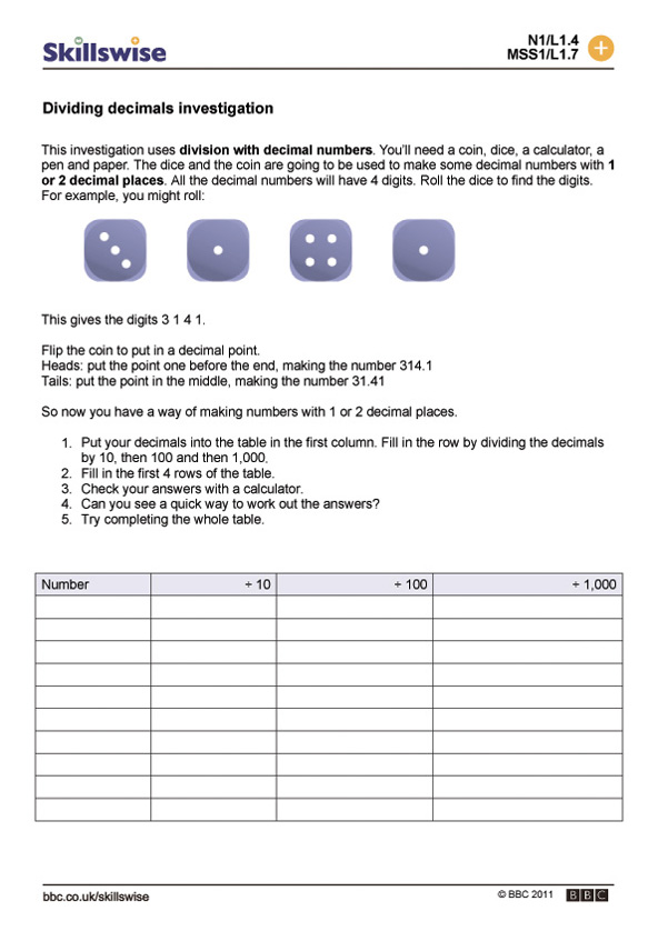 Dividing decimals investigation – Dividing by Decimals Worksheet