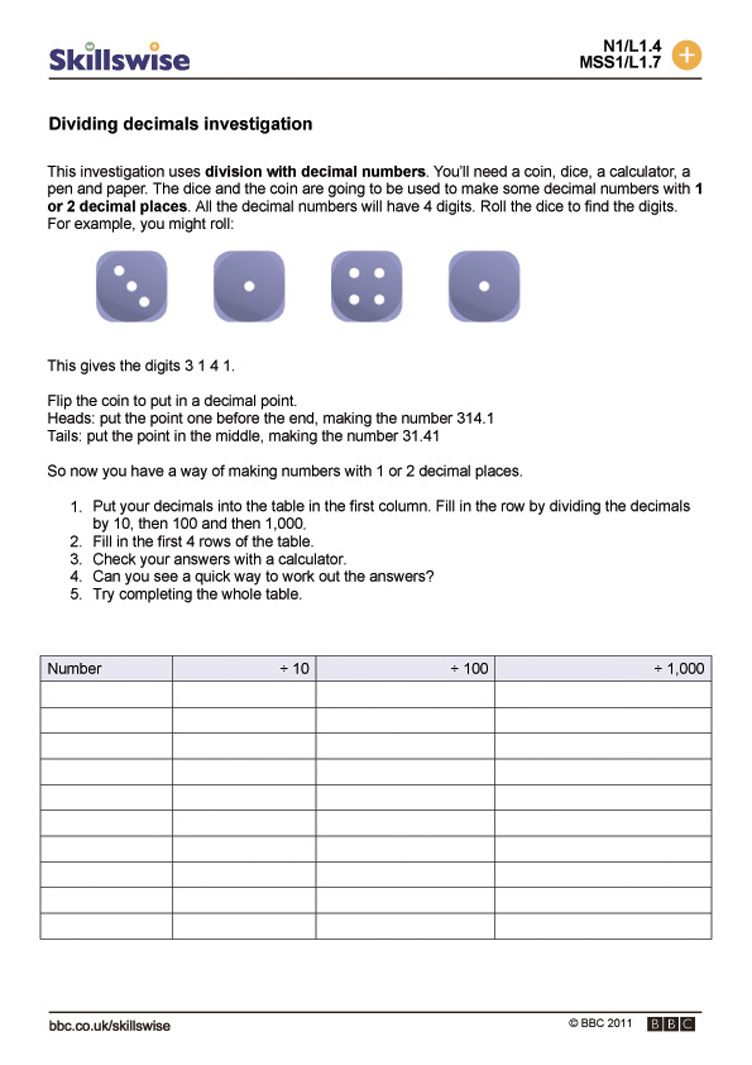 Dividing decimals investigation – Division by Decimals Worksheet