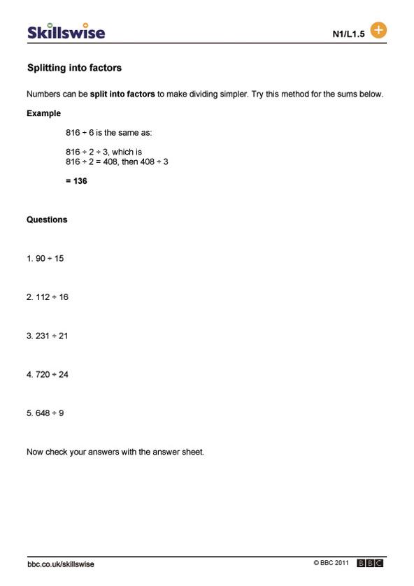 Division worksheet preview