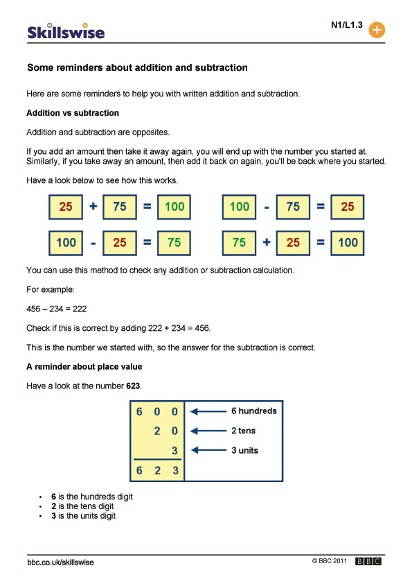 Subtraction Worksheets place value addition and subtraction worksheets : ma12pape-l1-f-some-reminders-about-addition-and-subtraction-560x792.jpg