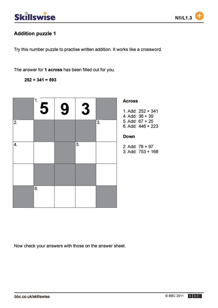 Addition puzzle 1 – Addition Puzzle Worksheets