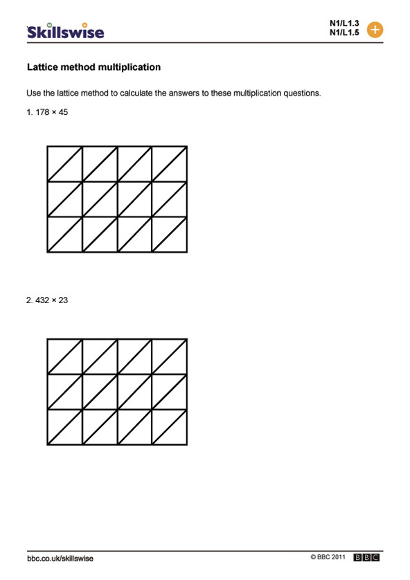 ma12papel1wlatticemethodmultiplication592x838jpg – Multiplication Lattice Method Worksheets